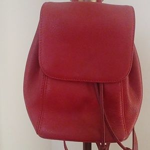 coach N#L6E-4925 red pebbled leather backpack